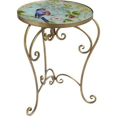 Pier One Blue Bird Accent Table ($80) found on Polyvore featuring tables