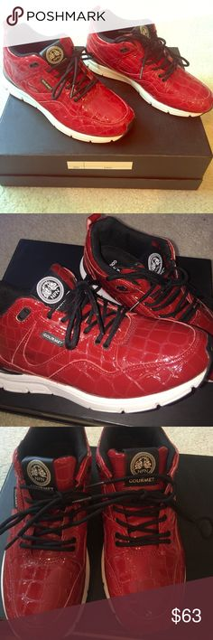 ⭐️NWOT GOURMET HIGH TOP SNEAKERS⭐️ Red high top Gourmet sneakers with snake skin print. Luxury with a twist of street style. Gourmet Shoes Sneakers