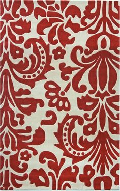 The Cine Parisian Rug in Red is adorned with an oversized rendition of the classic damask pattern in red and cream.   Complete your kid's room with this timeless rug