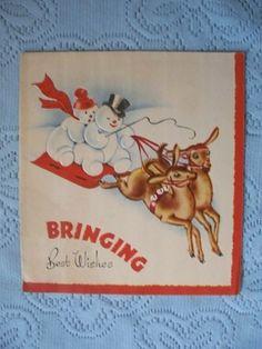 Vintage Christmas Card Snowmen on Sled with Reindeer