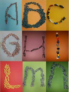 9 letters van verschillende materialen en met verschillende achtergronden