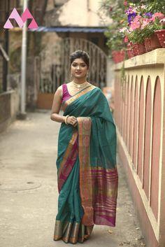 Women's Heavy Cotton Silk Cgreen and pink saree with | Etsy Indian Blouse, Indian Sarees, Indian Wear, Sari Blouse, Saree Draping Styles, Saree Styles, Saree Look, Silk Material, Pure Silk Sarees