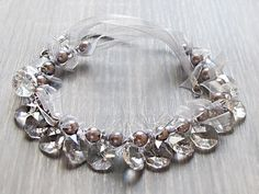 Grey Pearl Necklace Silver Pearl Statement Jewelry by bddcrochet, $40.00