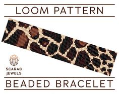 giraffe pattern Beaded bracelet pattern featuring animal print: simplified giraffe print in just has been designed for loom beadweaving, however it can also be used for square stitch. Bead Loom Bracelets, Beaded Bracelet Patterns, Bead Loom Patterns, Friendship Bracelet Patterns, Beading Patterns, Stitch Patterns, Crochet Giraffe Pattern, Loom Beading, Bead Weaving