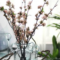 1pc 1 Ramo Poliéster / Plástico Sakura Flor de Chão Flores artificiais…