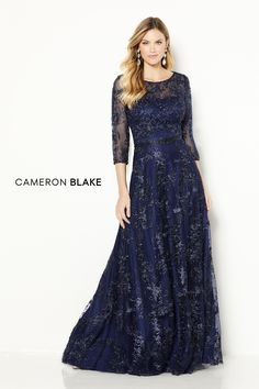 Cameron Blake - 118682 Quarter-Length Sleeve A-line Gown Cameron Blake, Mother Of The Bride Dresses Long, Evening Dresses, Formal Dresses, Elegant Dresses, Party Dresses, Mom Dress, Tulle Gown, A Line Gown