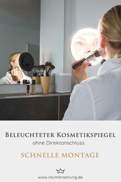 Kosmetikspiegel mit Akku I Beleuchteter Kosmetikspiegel mit Sensortechnologie   #kosmetikspiegel #badezimmer #einrichtungsberatung Montage, Interior, Blog, Technology, Lighted Vanity Mirror, White Interiors, Bathroom Updates, Minimalist Home, Bath Room
