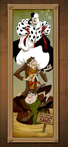 Cruella De Vil and her henchmen sink in the quicksand.  Disney Villains Take on Famous Roles in The Haunted Mansion « Disney Parks Blog