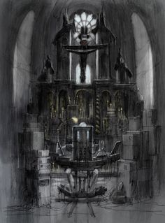 Chapel interior from The Zero Theorem. Terry Gilliam. Concept art from Production Designer David Warren.