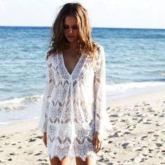 hardtofind. | Melissa Odabash short cream lace kaftan