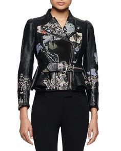 B32H8 Alexander McQueen Embroidered Leather Moto Jacket, Black Multi