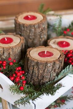 Make these Rustic Wood Candle Holders! Gorgeous on your coffee table, buffet or…