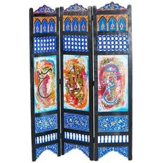 Hand-painted Moroccan Room Divider Or Folding Screen ($1,250) ❤ liked on Polyvore featuring home, home decor, panel screens, brown, panel folding screen, folding screen, folding room dividers, moroccan home accessories and moroccan home decor