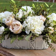 Wedding Flower Arrangements Lovely centerpiece with a French Country/Cottage Flair Beautiful Flower Arrangements, Silk Flowers, Beautiful Flowers, French Flowers, Spring Flowers, White Flowers, Floral Centerpieces, Table Centerpieces, Wedding Centerpieces