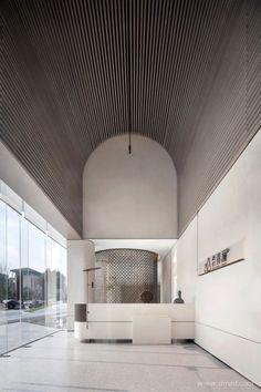 Ceiling Detail, Ceiling Design, Beautiful Interiors, Colorful Interiors, Cl Design, Feature Wall Design, Futuristic Interior, Curved Walls, Lobby Design