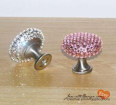 Pink Or Crystal Swarovski Crystal Bling Drawer Knob Set
