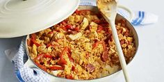 A Cajun-inspired rice pot recipe with spicy Spanish sausage, sweet peppers and tomatoes. This easy chicken and chorizo jambalaya recipe has been triple-tested and nutritionally analysed by our cookery team. Find more one-pot recipes at BBC Good Food. Spanish Sausage, Chicken Chorizo, Jambalaya Recipe, Cajun Seasoning, Plum Tomatoes, Bbc Good Food Recipes, Stuffed Sweet Peppers, One Pot Meals, Fried Rice