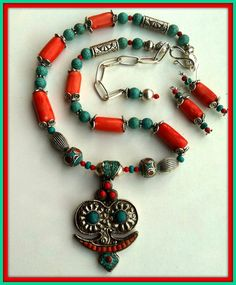 Turquoise Coral Nepal Necklace Pendant OOAK Big by BellaEmyJewels
