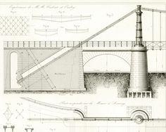 """1853 Pont en fer. Construction Pont métallique Fonte. Plan Brevet Original, Armengaud """"Publication Industrielle"""", Design industriel. de la boutique sofrenchvintage sur Etsy"""