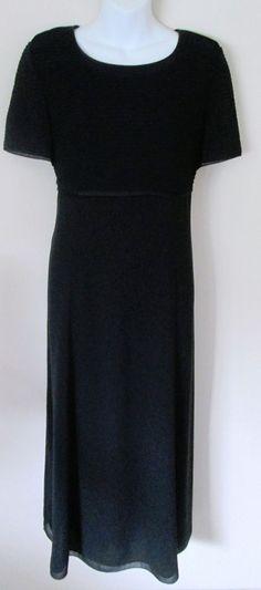 Talbots Size 10 Little Black Dress Short Sleeve Pleated Empire Bodice Mid Calf  #Talbots #EmpireWaist #LittleBlackDress