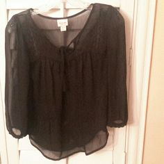 Black sheer top Black sheer top Mossimo Supply Co Tops Blouses
