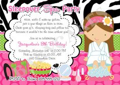 Sleepover Spa Party birthday invitation - print your own - matching party printables available on Etsy, $11.00