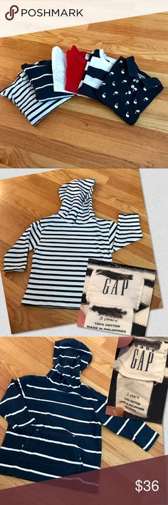 👶BABY Gap Nautical Bundle Red White & Blue bundle of tops from The Gap in 2T and 3T. Two blue & white hoodies (one with a kangaroo front pocket); a red polo; a navy blue polo with whales; a white pocket tee; and a long serve blue & white striped tee that buttons at the neckline. Each picture shows the size. Only flaws are shown in last photo: the red polo has a spot near the bottom and the long sleeve striped tee has a spot in the 2nd blue stripe and also on the right arm. My child's name…