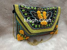 Your place to buy and sell all things handmade Handmade Clutch, Handmade Purses, Pom Pom Clutch, Designer Clutch, Wedding Clutch, Beaded Clutch, Pearl Beads, Clutch Purse, Travel Bag