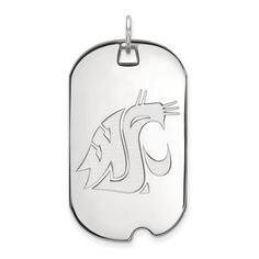 925 Sterling Silver Officially Licensed Washington State Large Dog Tag. Genuine Sterling Silver Metal with Authentic Stamp. Officially Licensed Product. 925 Sterling Silver. Free Gift Box with Every Purchase. 30 day No Haggle Stress Free Returns.