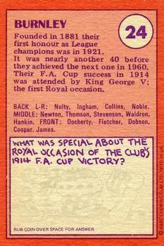 1974-75 A&BC Gum #24 Burnley Team Back