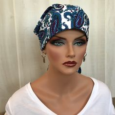 20% Off our 'Gabrielle', #PreTied #HeadScarf, Women's #Cancer #Headwear, #ChemoHat, #Alopecia #HeadWrap, #HeadCover, #HairLoss, #CancerGift, Chemo  #Navy #Paisley  #lovemyIHC