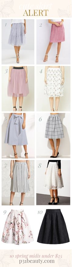 Cute skirt alert! 10 Midi Skirts Under $25 that are perfect for spring!   #affordable #midiskirts #springskirts