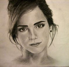 Beautiful charcoal drawing of the lovely Emma Watson. Harry Potter Sketch, Harry Potter Artwork, Harry Potter Drawings, Harry Potter Pictures, Beautiful Pencil Sketches, Amazing Drawings, Realistic Drawings, Girl Drawing Sketches, Portrait Sketches