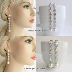Pearl Wedding Jewelry Bridal Earrings Cubic by poetryjewelry, $43.50