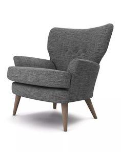 The Lounge Co. - Noah Chair in Tweedy Weave - Shark Fin  #trend #vintage #retro #1950s #1960s #1970s #interiordesign #interiorinspiration #midcentury #modern #house #home #homedecor #lounge #livingroom #sofa #chair #footstool #cushion #upholstery #fabric #wood #tweed