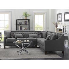 Iconic Home Chic Home Aberdeen Linen Tufted Down Mix Modern Contemporary Left Facing Sectional Sofa, Grey Living Room Sofa, Home Living Room, Living Room Furniture, Living Room Designs, Living Room Decor, Grey Furniture, Dining Room, Antique Furniture, Furniture Layout