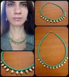 Handmade Beaded Choker Necklace Beautiful Green Color Gold Drops Elegant Dainty DIY