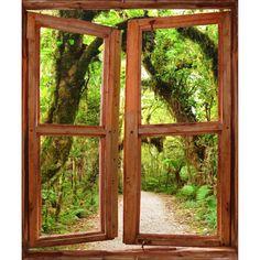 Stickers fenêtre trompe l'oeil chemin forêt Nature, Art Deco, Windows, Glass, Royal Ascot, Dios, Home, Urban Planning, Wall Decals