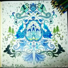 Floresta encantada - Brasão - Verde e azul - Gliter - Castelo - Johanna Basford # colorir