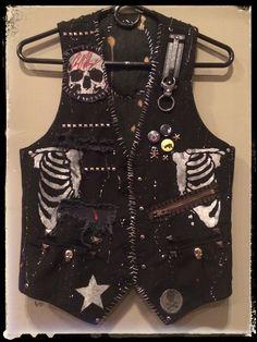 Rocker vest by Chad Cherry from Chad Cherry Clothing. Quirky Fashion, Punk Fashion, Diy Fashion, Fashion Outfits, Lolita Fashion, Punk Outfits, Cool Outfits, Cochella Outfits, Tomboy Outfits