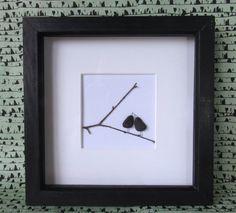 pebble art, pebble decor, pebble pictures, pebble, beach art, anniversary, gift for her, gift for him, love birds
