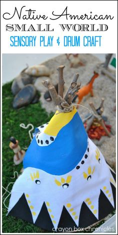Native American small world with DIY stick teepee and homemade drum craft by Crayon Box Chronicles.