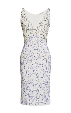 Vine Outline All Embroidered Silk V-Neck Dress by Narciso Rodriguez for Preorder on Moda Operandi