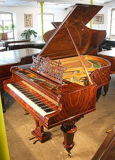 An antique, Bechstein Model V grand piano with an exquisite polished, burr walnut case at Besbrode Pianos