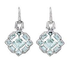 Pendientes Art Decó Edición Limitada de oro blanco con aguamarinas y diamantes blancos de Suárez