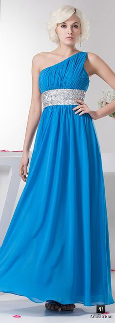 NEW! Amazing chiffon one shoulder neckline A-line prom dresses with sequin lace(SOD74543)