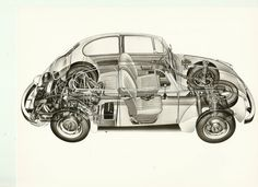 VW Volkswagen Beetle Original Black White Press Cutaway Drawing Mint Condition | eBay