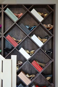 Moving in, Charlotte had no wine but lots of shoes, so she flipped the function of this wine rack: http://image.ie/Interiors/House-Tour/Paris-Dublin