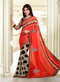 Gorgeous Beige & Tomato Embroidered #Saree #designersarees #clothing #womenswear #womenapparel #ethnicwear