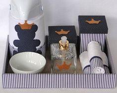 Kit Higiene Urso azul marinho com coroa